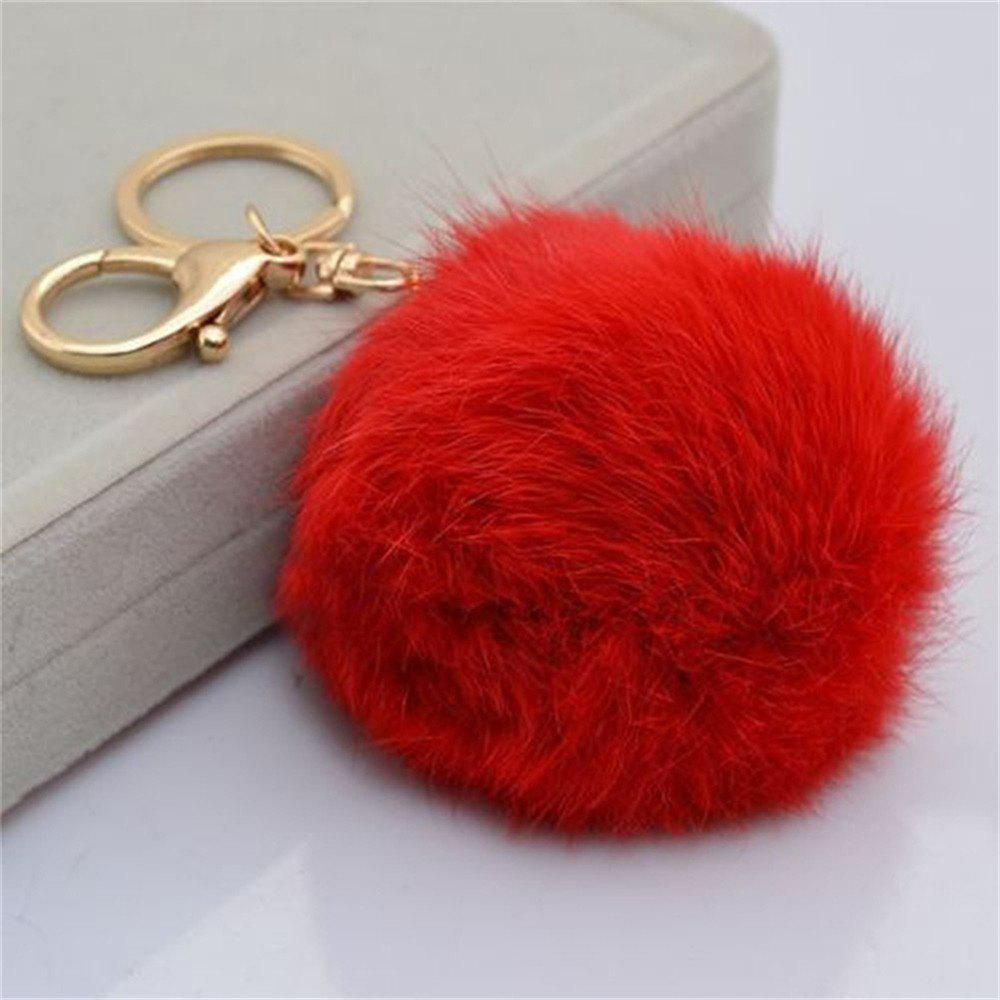 Cartoon Hairball Rabbit Pendant Keychain - FERRARI RED