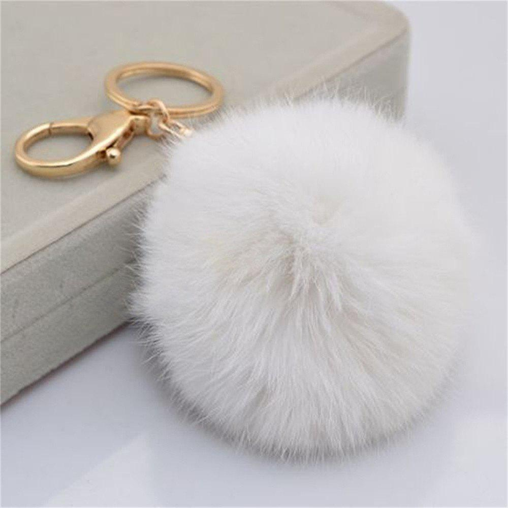 Cartoon Hairball Rabbit Pendant Keychain - MILK WHITE
