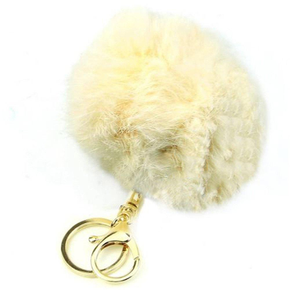 Cartoon Hairball Rabbit Pendant Keychain - BLANCHED ALMOND