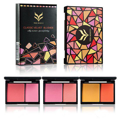 HUAMIANLI Double Color Matte Face Blush Powder Makeup Palette Cosmetic Kit - 002