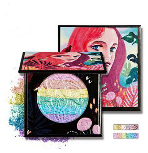 HUAMIANLI Rainbow Highlighter Blush Face Pressed Eyeshadow Powder Palette Make Up Cosmetics - 002