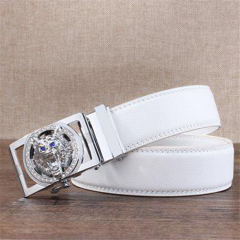 ZHAXIN 801 Silver Wolf Head Clasp Automatically Fashion Man's Belt - WHITE