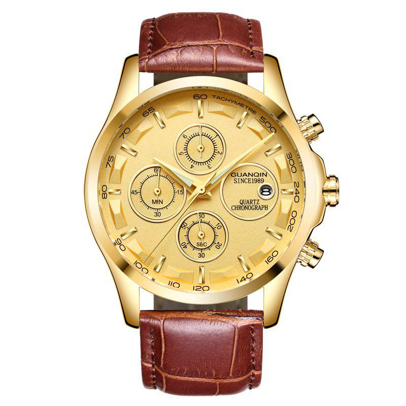 GUANQIN GS19112 Men Multi-function Fashion Quartz Watch - DARK GOLDENROD