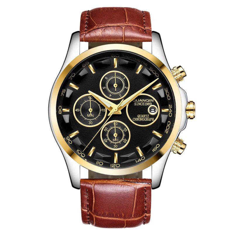 GUANQIN GS19112 Men Multi-function Fashion Quartz Watch - RUST