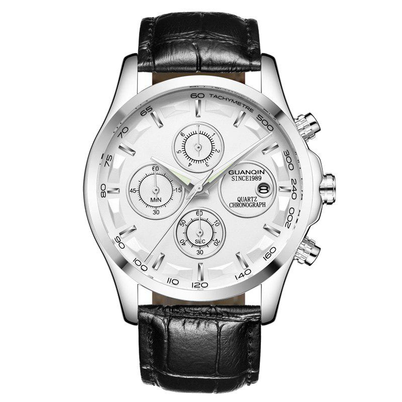 GUANQIN GS19112 Men Multi-function Fashion Quartz Watch - WHITE