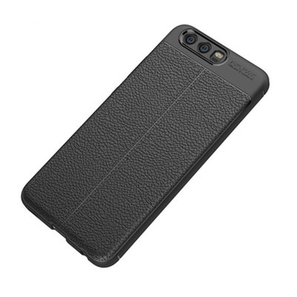 MSV PU Leather Back Case for Huawei P10 Soft TPU Luxury Cover Shockproof Mobile Phone Cases Silicone Shell For Huawei P1 - BLACK