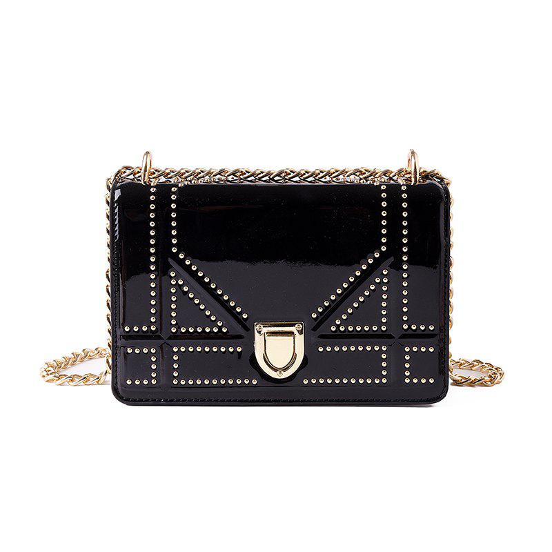 Smooth New Handbag Messenger ShoulderSmall Square Bag - BLACK