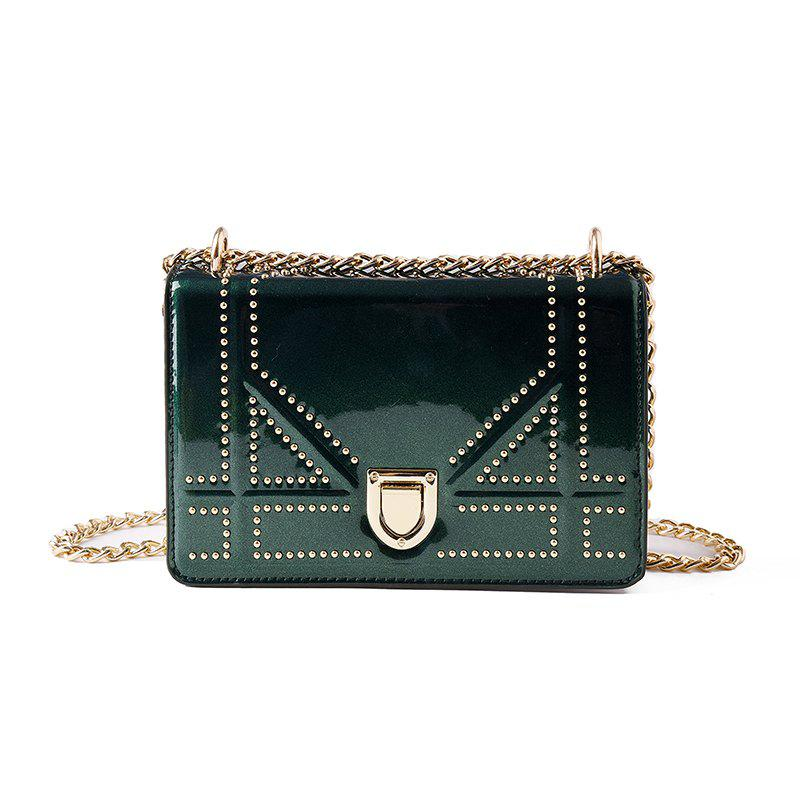 Smooth New Handbag Messenger ShoulderSmall Square Bag - PINE GREEN