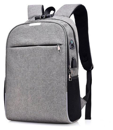 Anti-Theft Backpack Smart USB Charging Shoulder Bag Cloth Notebook - GRAY