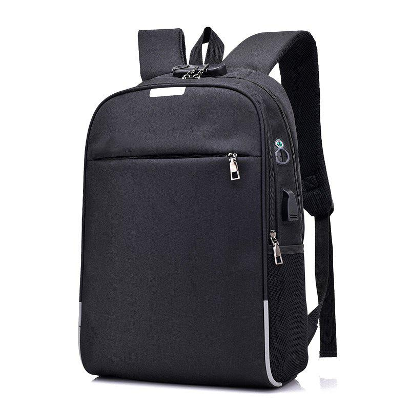 Anti-Theft Backpack Smart USB Charging Shoulder Bag Cloth Notebook - BLACK