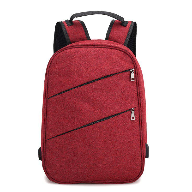 Backpack Computer Multi-Function Security Student Bag - RED WINE