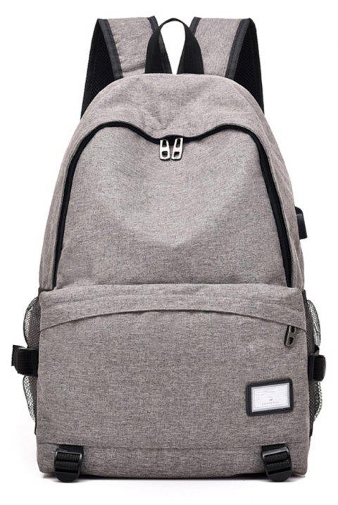 Simple Canvas Backpack Student Bag - GRAY