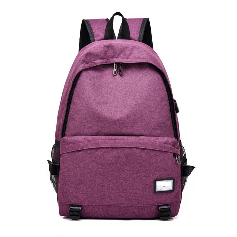 Simple Canvas Backpack Student Bag - PURPLE