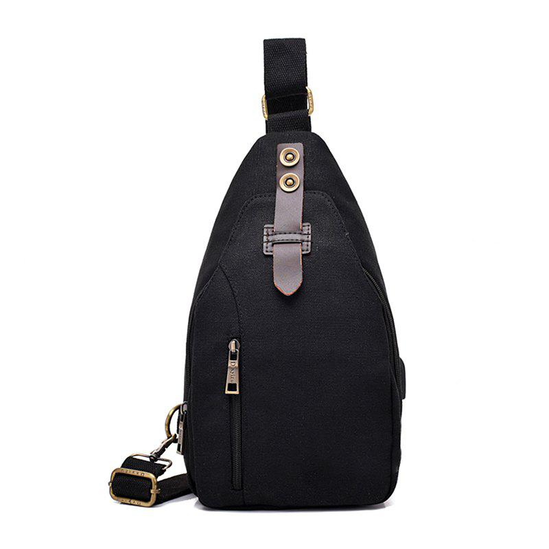 USB Charging Shoulder Bag Multifunctional Diagonal Bag Sports Backpack - BLACK