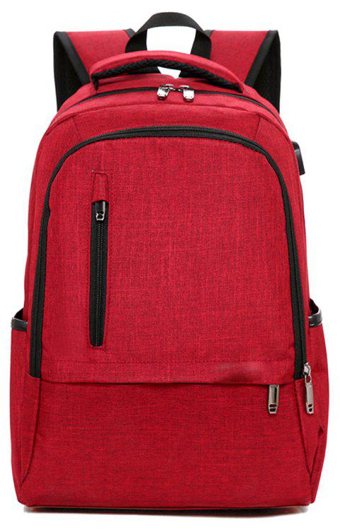 Backpack Trend Student Bag School Wind Large Capacity - RED