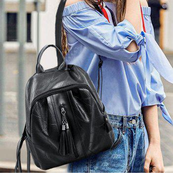 Wild Backpack Fashion Stitching Fringe Bag - BLACK