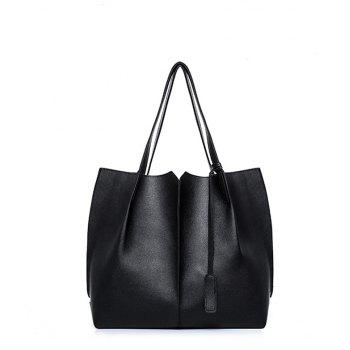 Wild Two Pieces of Simple Handbag Pu Package - BLACK