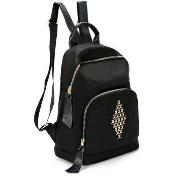Cloth Backpack Rivet Backpack - BLACK