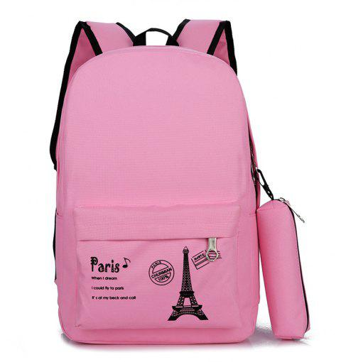 Canvas Simple Student Schoolbag Backpack - PINK ROSE