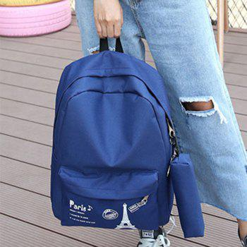 Canvas Simple Student Schoolbag Backpack - BLUE