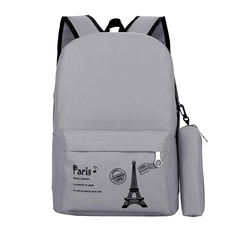 Canvas Simple Student Schoolbag Backpack - GRAY