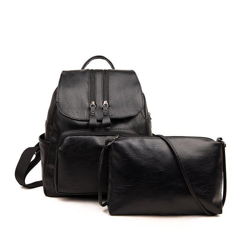 Two Pieces Backpack Pu Sub-Package - BLACK