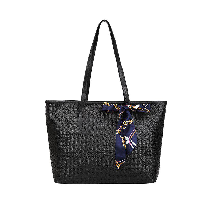 Woven Scarf Hand Shoulder Bag - BLACK