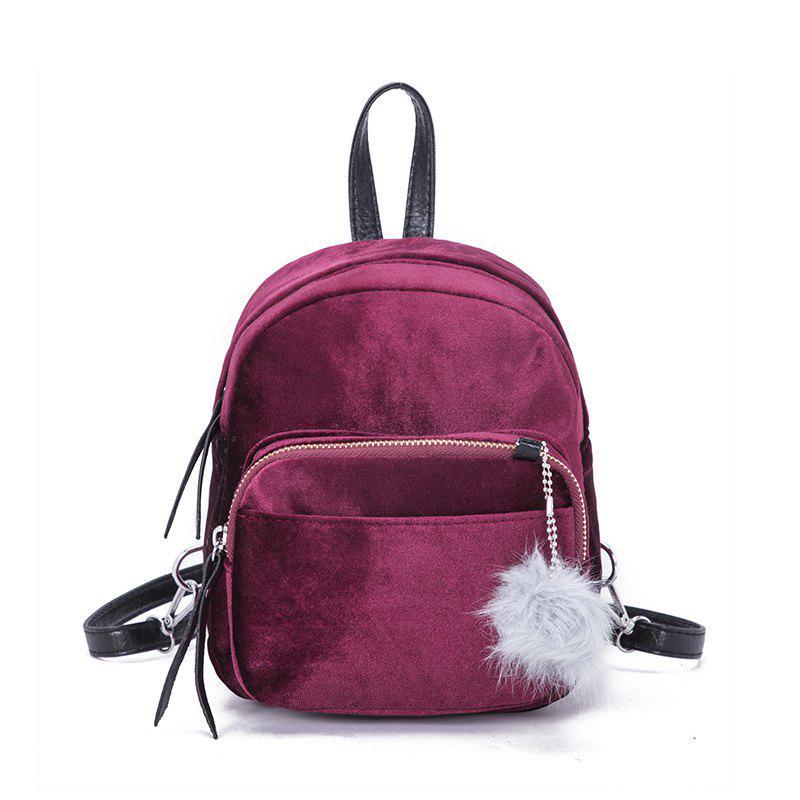 Small Velvet Backpack Messenger Bag - PLUM