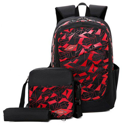 Student High-Capacity Fashion Bag Backpack - RED
