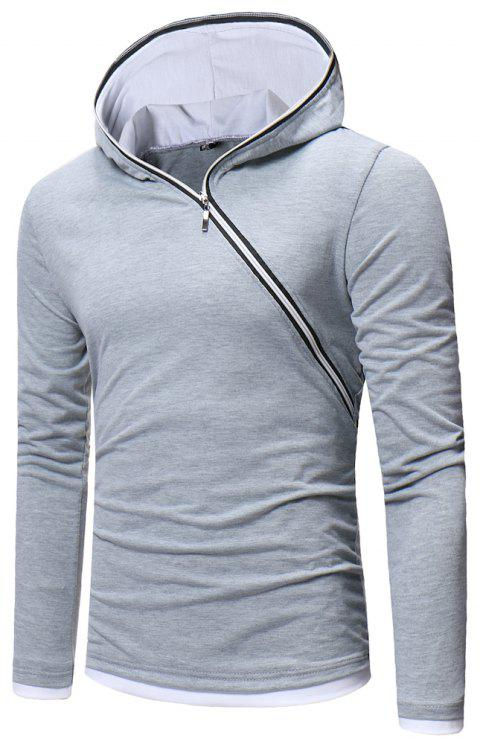 New Men's Diagonal Zip Hooded Design Fashion Long Sleeve Hooded T-Shirt - PLATINUM 2XL