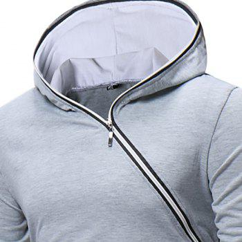 New Men's Diagonal Zip Hooded Design Fashion Long Sleeve Hooded T-Shirt - PLATINUM L