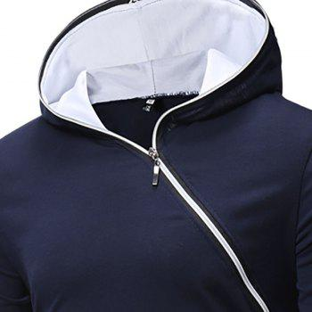 New Men's Diagonal Zip Hooded Design Fashion Long Sleeve Hooded T-Shirt - NAVY BLUE L