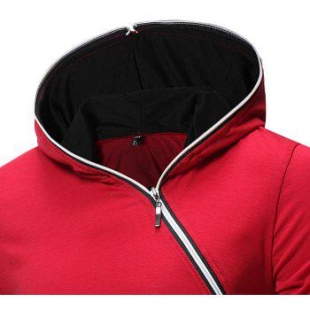 New Men's Diagonal Zip Hooded Design Fashion Long Sleeve Hooded T-Shirt - RED 2XL