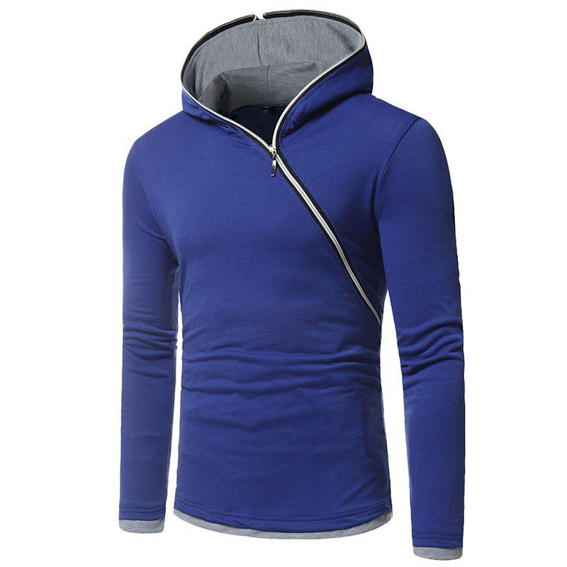 New Men's Diagonal Zip Hooded Design Fashion Long Sleeve Hooded T-Shirt - ROYAL BLUE M