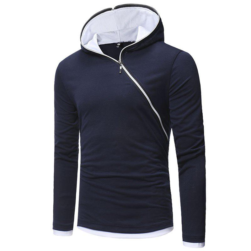 New Men's Diagonal Zip Hooded Design Fashion Long Sleeve Hooded T-Shirt - NAVY BLUE 2XL