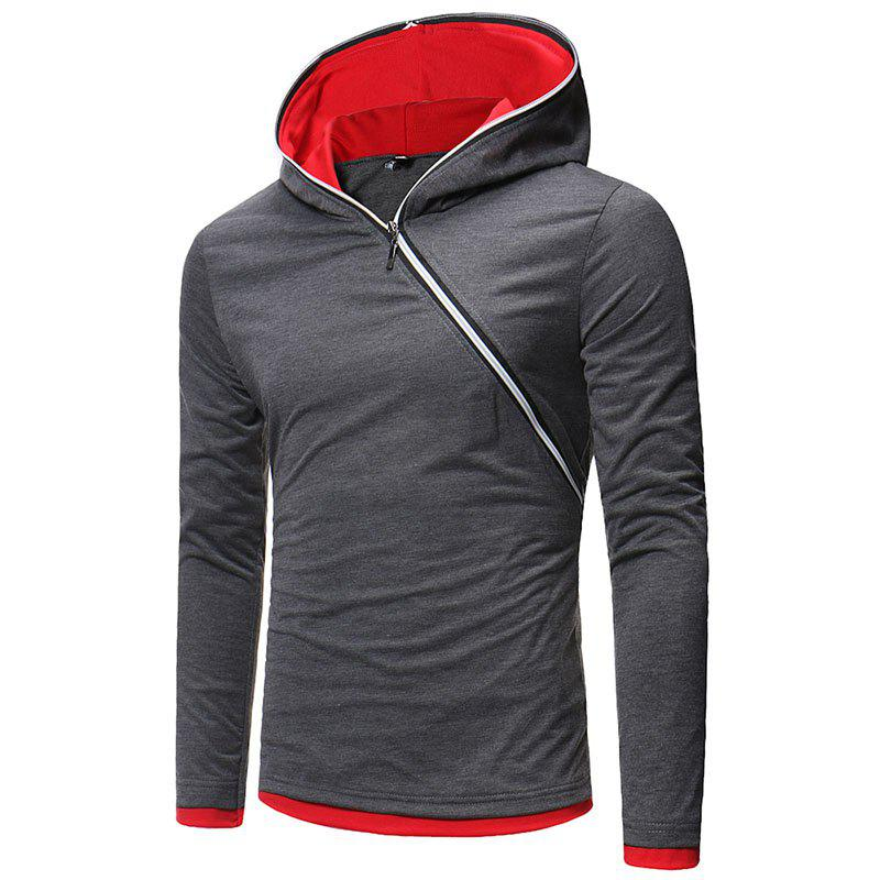 New Men's Diagonal Zip Hooded Design Fashion Long Sleeve Hooded T-Shirt - CARBON GRAY L