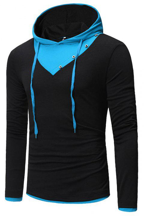 New Fashion Men's Hat Color Casual Long-Sleeved T-Shirt - NIGHT XL