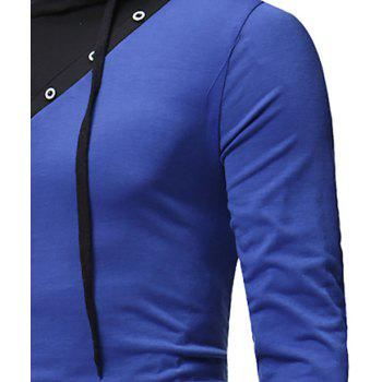 New Fashion Men's Hat Color Casual Long-Sleeved T-Shirt - SAPPHIRE BLUE XL