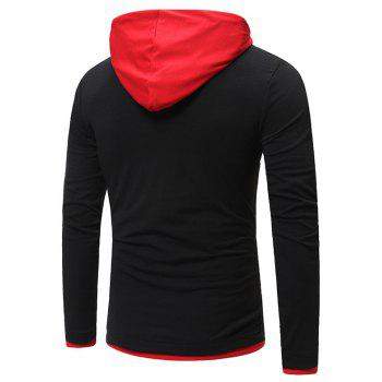 New Fashion Men's Hat Color Casual Long-Sleeved T-Shirt - BLACK 2XL