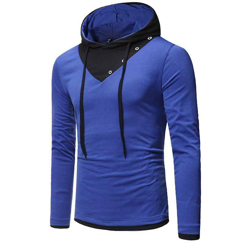New Fashion Men's Hat Color Casual Long-Sleeved T-Shirt - SAPPHIRE BLUE L