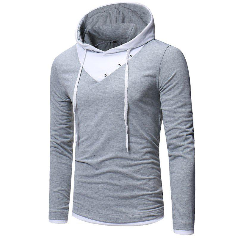New Fashion Men's Hat Color Casual Long-Sleeved T-Shirt - PLATINUM L