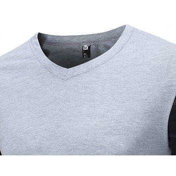 Men's Fashion V-Neck Spelling Casual Long Sleeve T-Shirt - PLATINUM 2XL