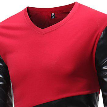 Men's Fashion V-Neck Spelling Casual Long Sleeve T-Shirt - RED M