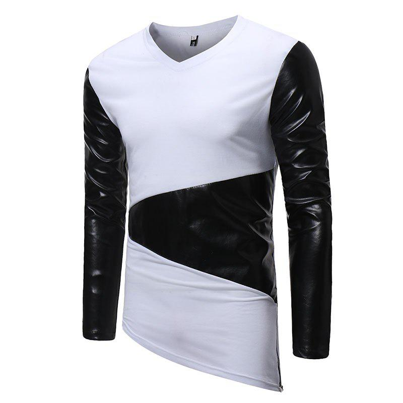 Men's Fashion V-Neck Spelling Casual Long Sleeve T-Shirt - WHITE L