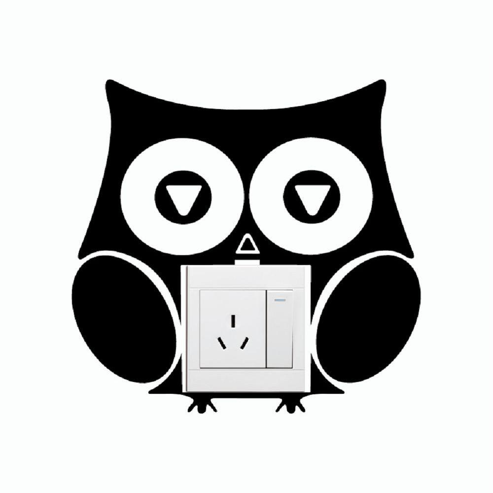 DSU Cute Owl Switch Sticker Funny Cartoon Owl Vinyl Wall Sticker for Home Decoration diy custom car cartoon stickers hatsune miku vinyl sticker printing carving protection film car funny graffiti sticker decals