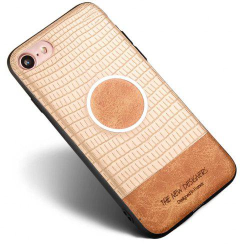 For iPhone 7 / 8 Case Magnetic Function Special Texture Soft Back Cover - GOLDEN BROWN