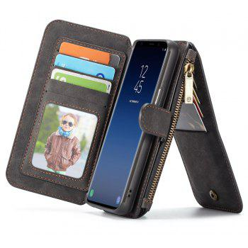 CaseMe Genuine Leather Multifuntcional Wallet Pouch Case for Samsung Galaxy S9 - BLACK