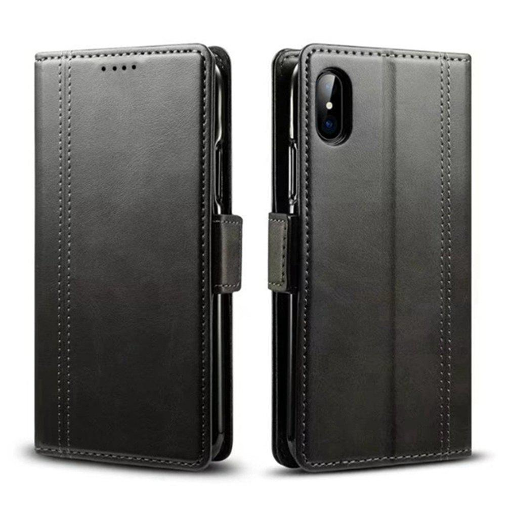 Mixed Colors Cowhide Leather Wallet Stand Case Cover for iPhone X - BLACK