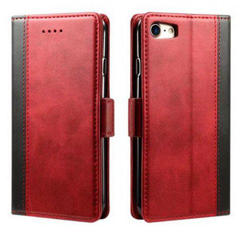 Mixed Colors Cowhide Leather Wallet Case Cover With Card Slots for iPhone 7 / 8 - RED