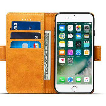 Mixed Colors Cowhide Leather Wallet Case Cover With Card Slots for iPhone 7 / 8 - CARAMEL